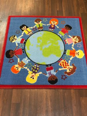 NEW KIDS WORLD EDUCATIONAL SCHOOL MAT RUG 100X100CM MULTICOLOUR NON SLIP
